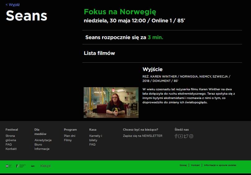 Wyjście, reż. Karen Winther. 61. Krakowski Festiwal Filmowy