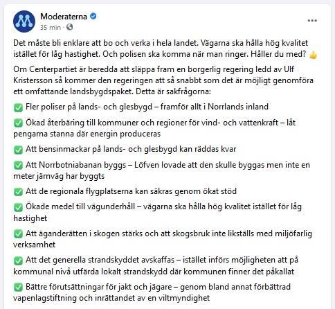 Profil Moderatów szwedzkiej partii na Facebooku