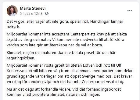 Komentarz Märty Stenevi na Facebooku po tym jak Partia Centrum poinformowała o porozumieniu dot. polityki leśnej i zabudowy wybrzeży